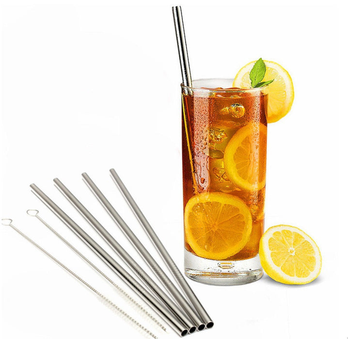 6 Pack Of Stainless Steel Straws & Cleaner - Fits Yeti, Rtic, Tervis Tumblers