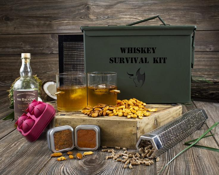 Whiskey Survival Kit- Whiskey and Gourmet Nut Lovers Ammo Can Gift Set