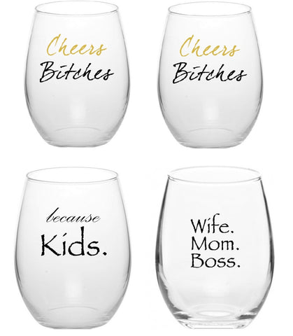 (Set Of 4) Variety Pack Stemless Wine Glass