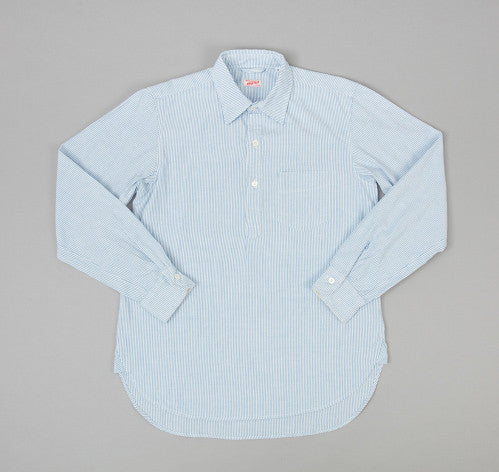 Grand-Pere Shirt, Blue Stripe Oxford