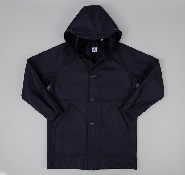 Mevi Coat, Navy Melton Wool