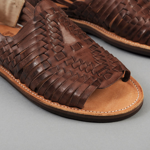 "Chamula ""Chichen"" Woven Leather Sandal, Brown"