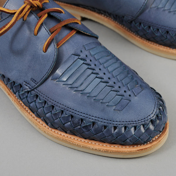 "Chamula - ""Veracruz"" Woven Leather Lace-Up Shoe, Blue - image 2"