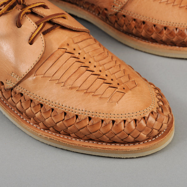 "Chamula ""Veracruz"" Woven Leather Lace-Ups, Natural"