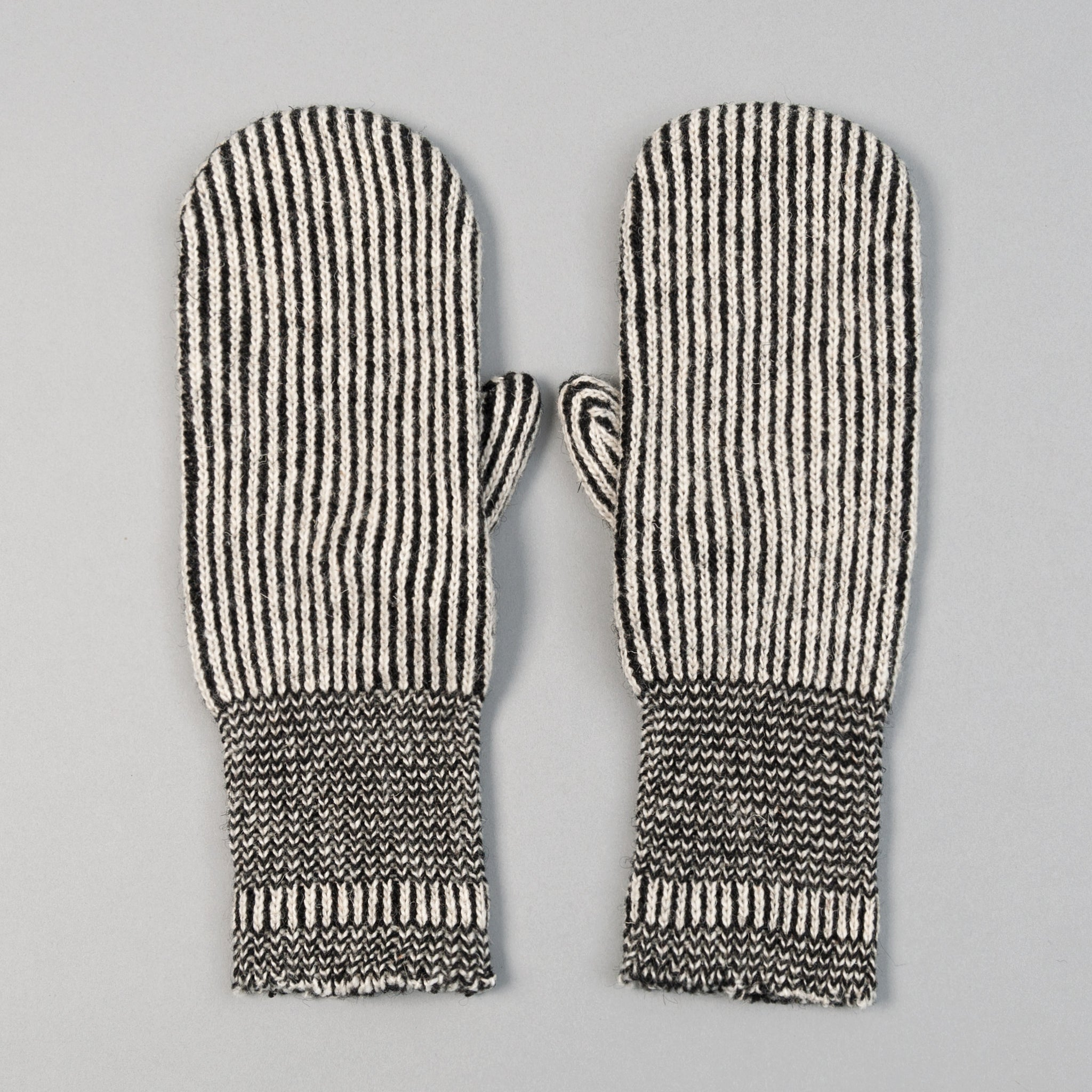 Fox River - Striped Wool Mittens, Black & White - image 1