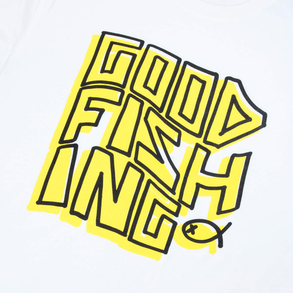 Eddy Logo T-Shirt, White / Electron - GOOD FISHING