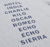 Hickoree's - Radio Alphabet Souvenir T-Shirt, Heather Grey -