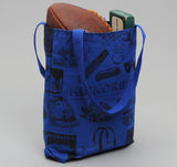 Poster Tote, Blue Canvas with Black Ink