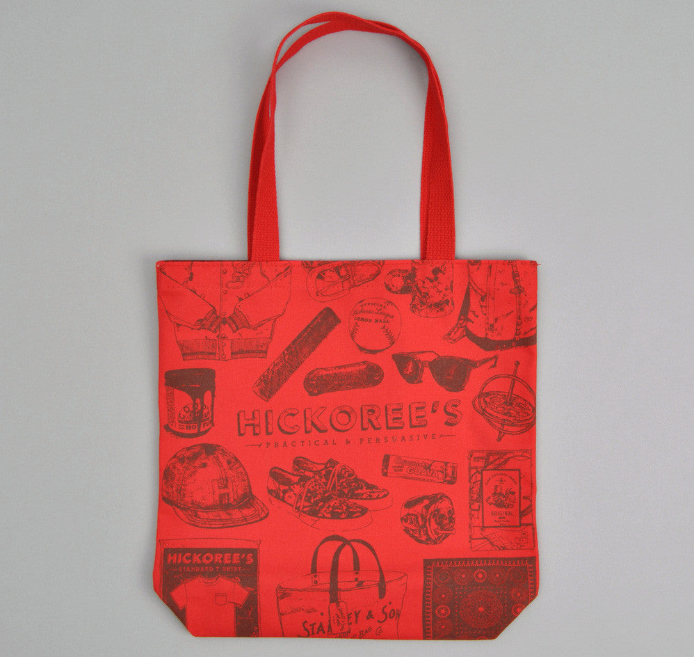 Poster Tote, Red Canvas with Maroon Ink
