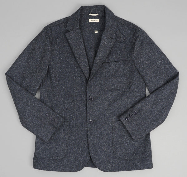 JK1-189 - Cotton Herringbone Tweed Tailored Jacket, Navy