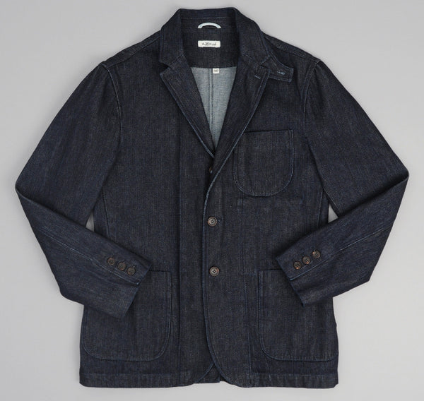 Open-Weave Broken Twill Tailored Jacket, Indigo