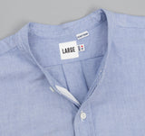 Band Collar Shirt, Blue Oxford