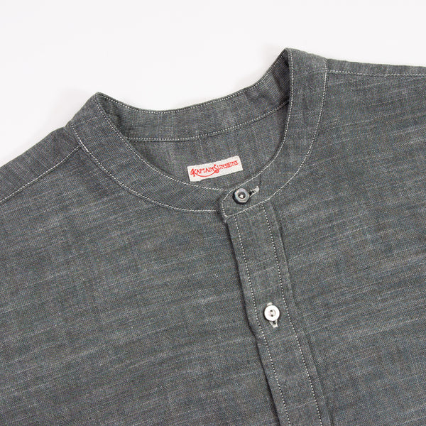 Kaptain Sunshine Cotton / Silk Chambray Band Collar Shirt
