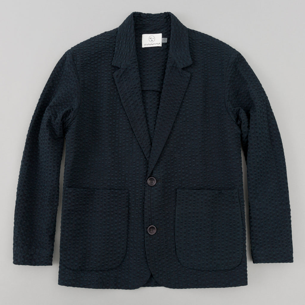 Older Brother Blazer, Black Indigo Seersucker