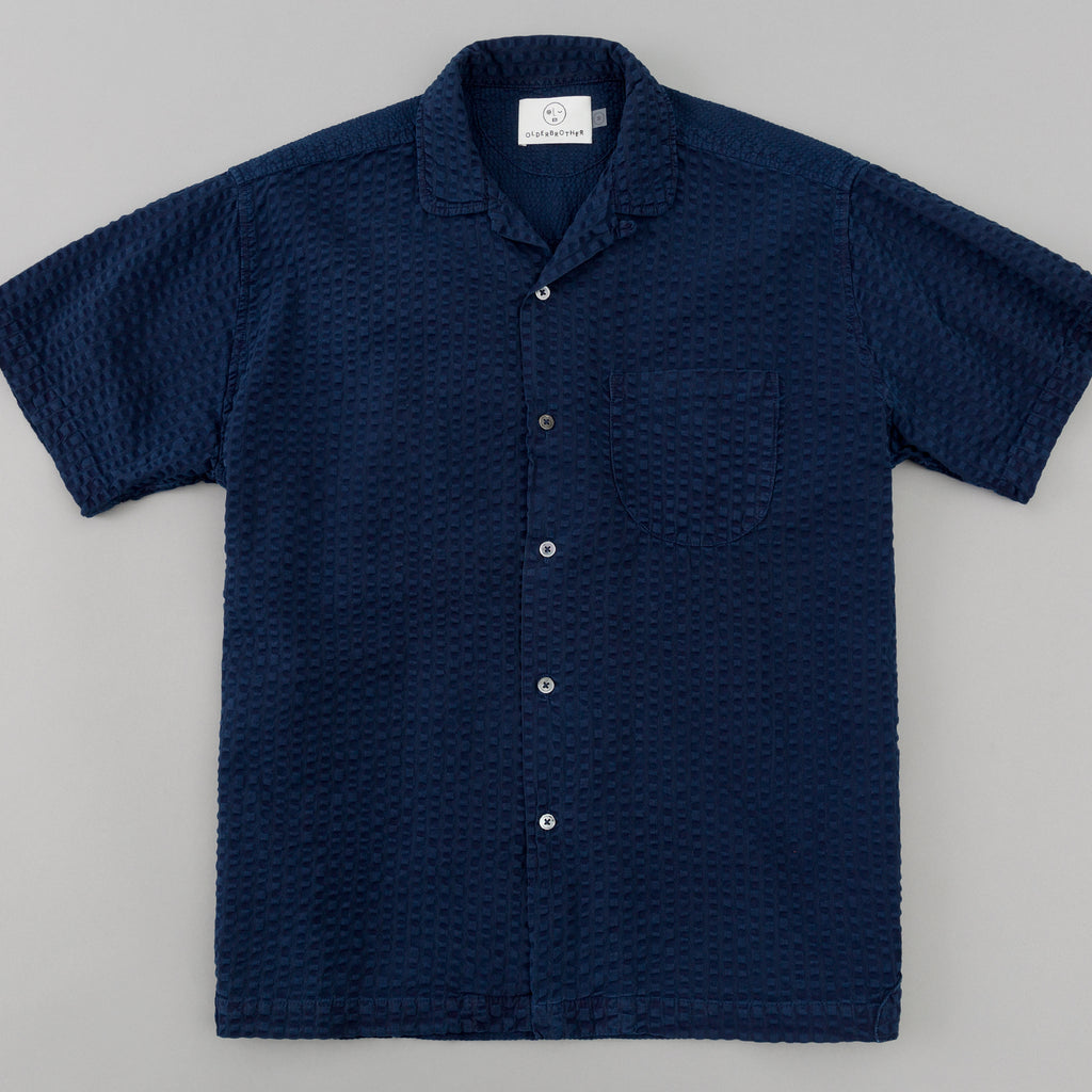 Older Brother - Geri Shirt, Indigo Double Seersucker -
