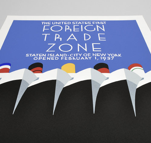 "Posters of the WPA ""Foreign Trade Zone"" Hand-Printed Poster"
