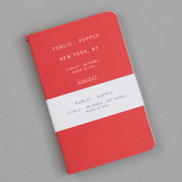 Public-Supply Dot Grid Pocket Notebook 3-Pack, Red 02