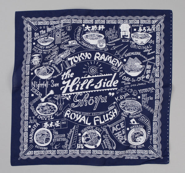 The Hill-Side - Souvenir Bandana, Ramen Joints, Navy - SB5-01