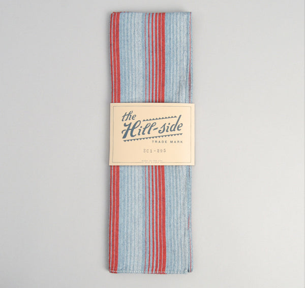 TH-S Mills Selvedge Waterfall Stripe Chambray Scarf, Red / Dark Indigo