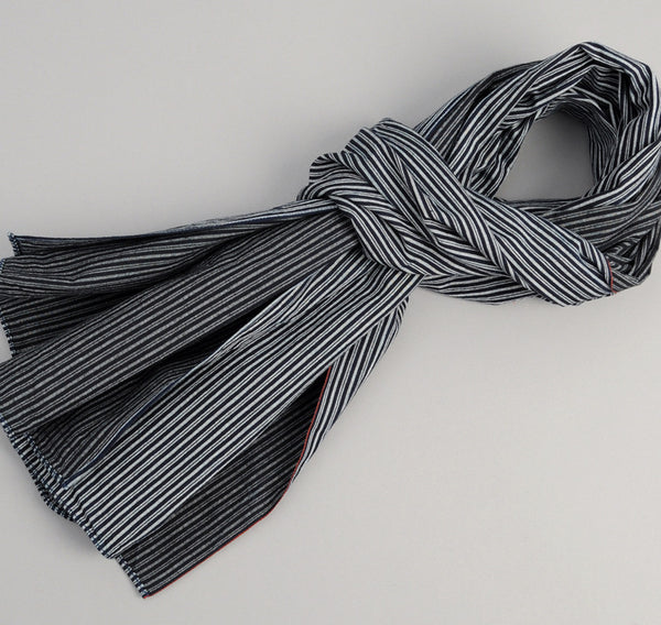 Father & Son Stripe Twill Scarf, Indigo / White