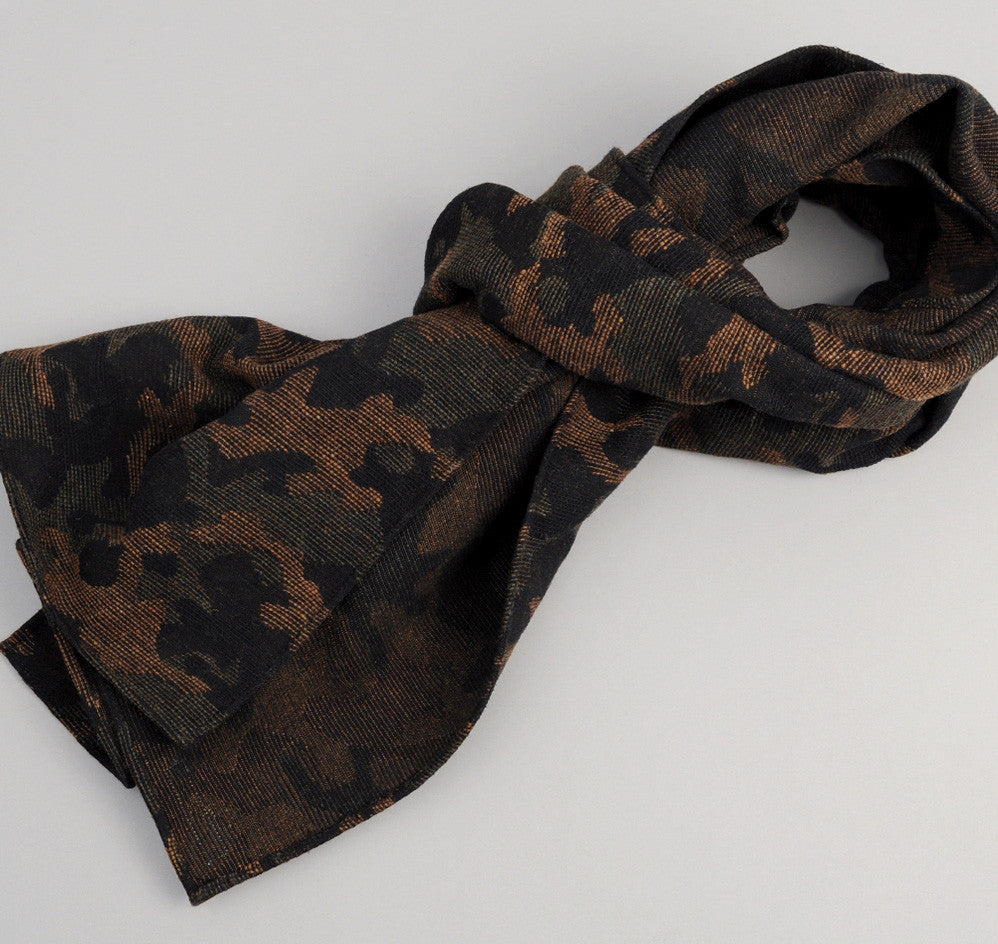 Cotton / Wool Jacquard Camo Scarf, Olive