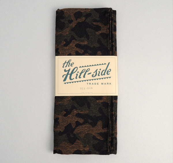 The Hill-Side Cotton / Wool Jacquard Camo Scarf, Olive
