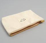 Medium Zip Pouch, Natural Herringbone