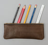 Leather Pencil Zip Pouch, Brown