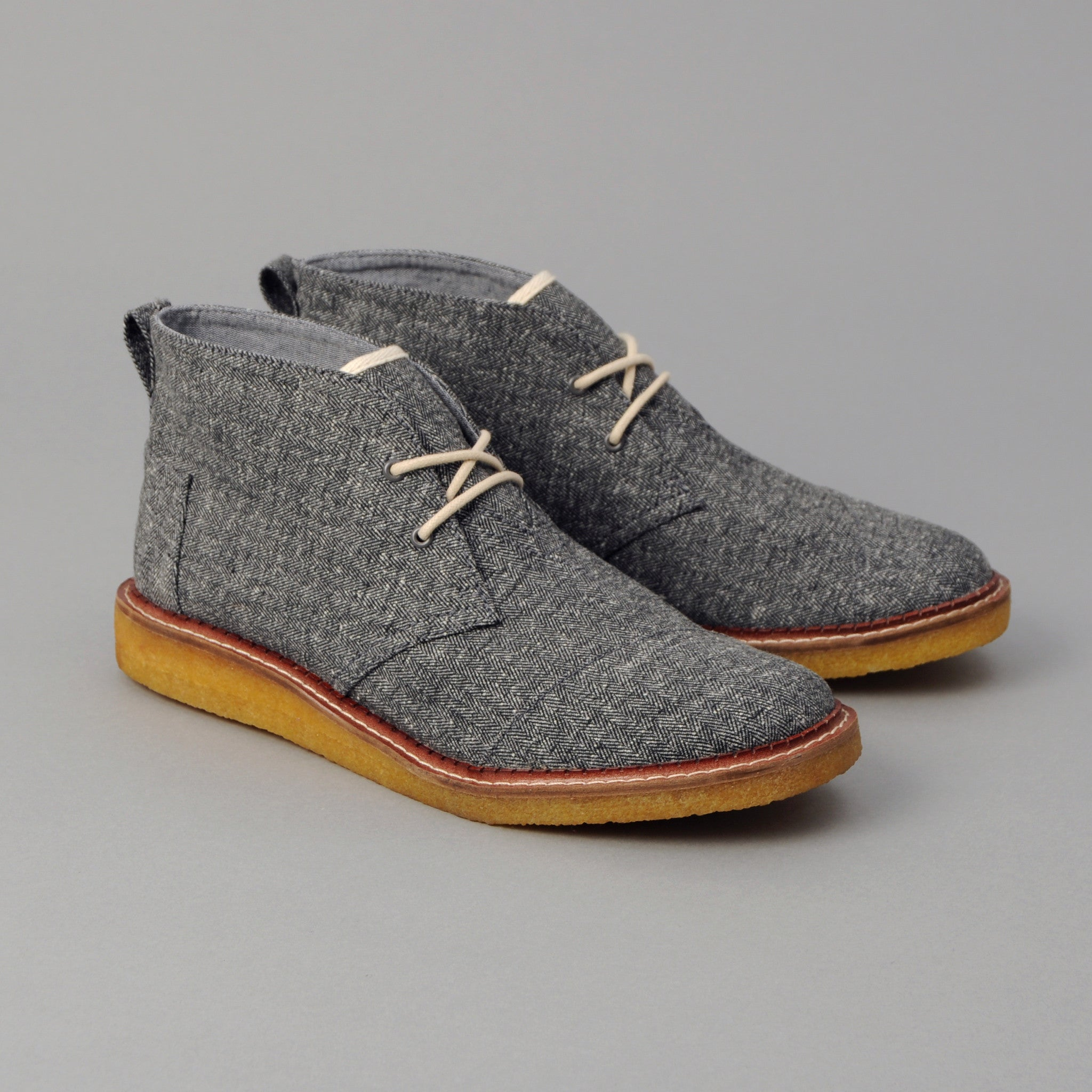 TOMS - TOMS x The Hill-Side Men's Mateo Chukka, Grey Herringbone Tweed -