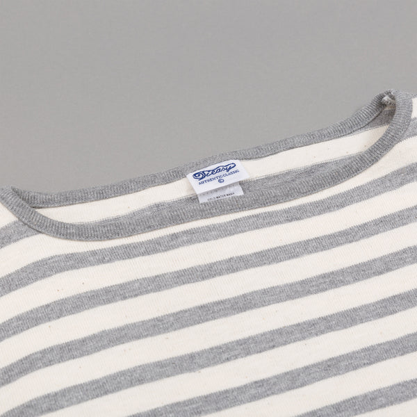 Teasy - High-Density Cotton Basque Shirt, Natural / Mix Grey Border Stripe -
