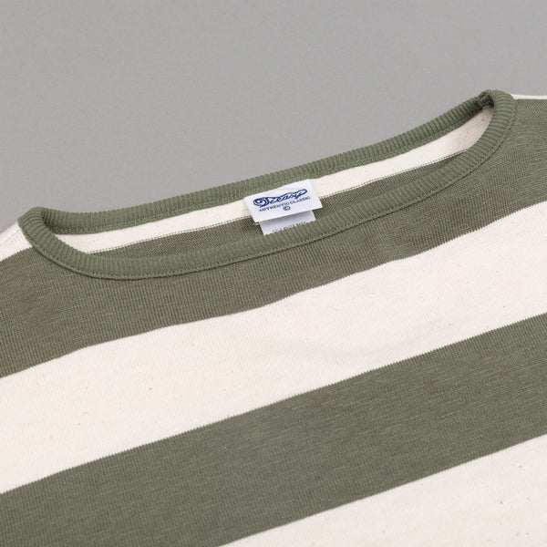 Teasy - High-Density Cotton Basque Shirt, Natural / Tea Green Wide Border Stripe -