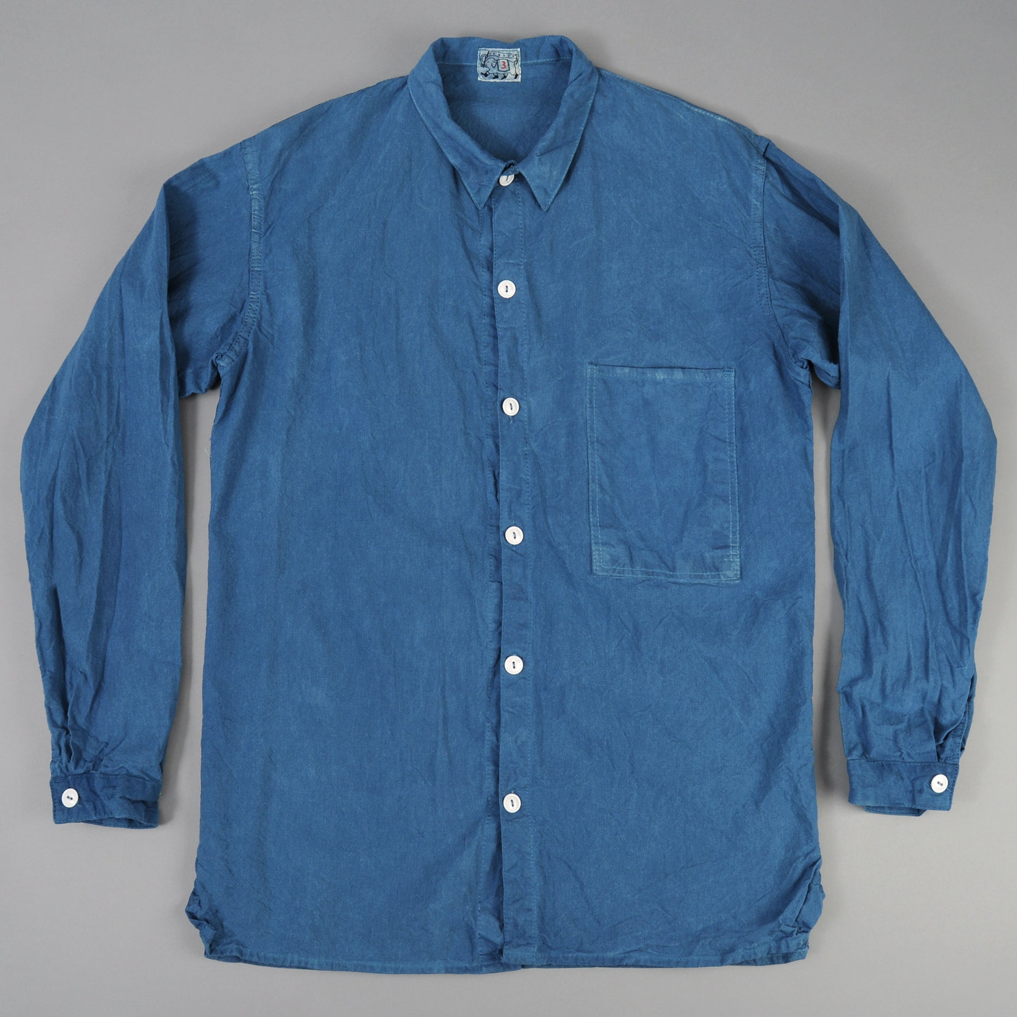 Tender Co. - Square Tail Long Sleeve Shirt, Woad Calico - image 1