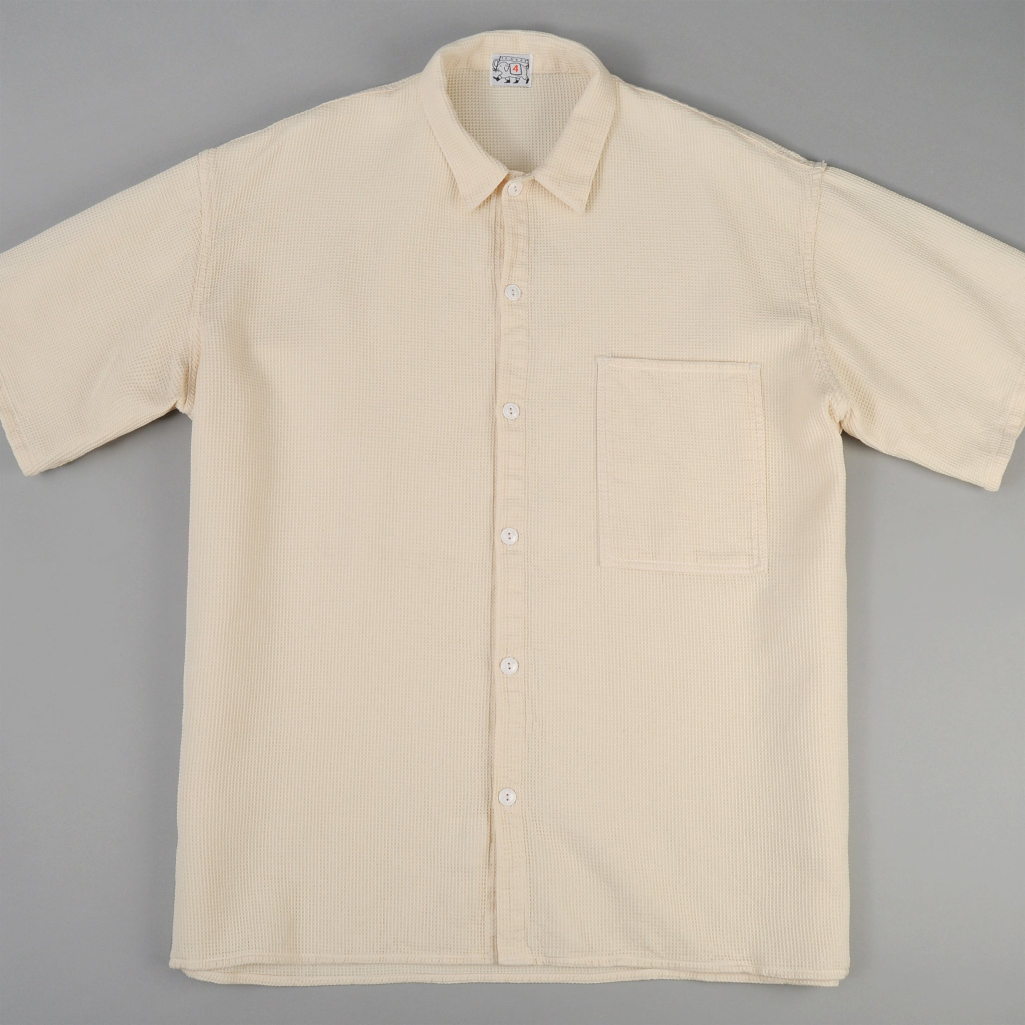 Tender Co. Square Tail Short Sleeve Shirt, Beekeeper's Cloth, White