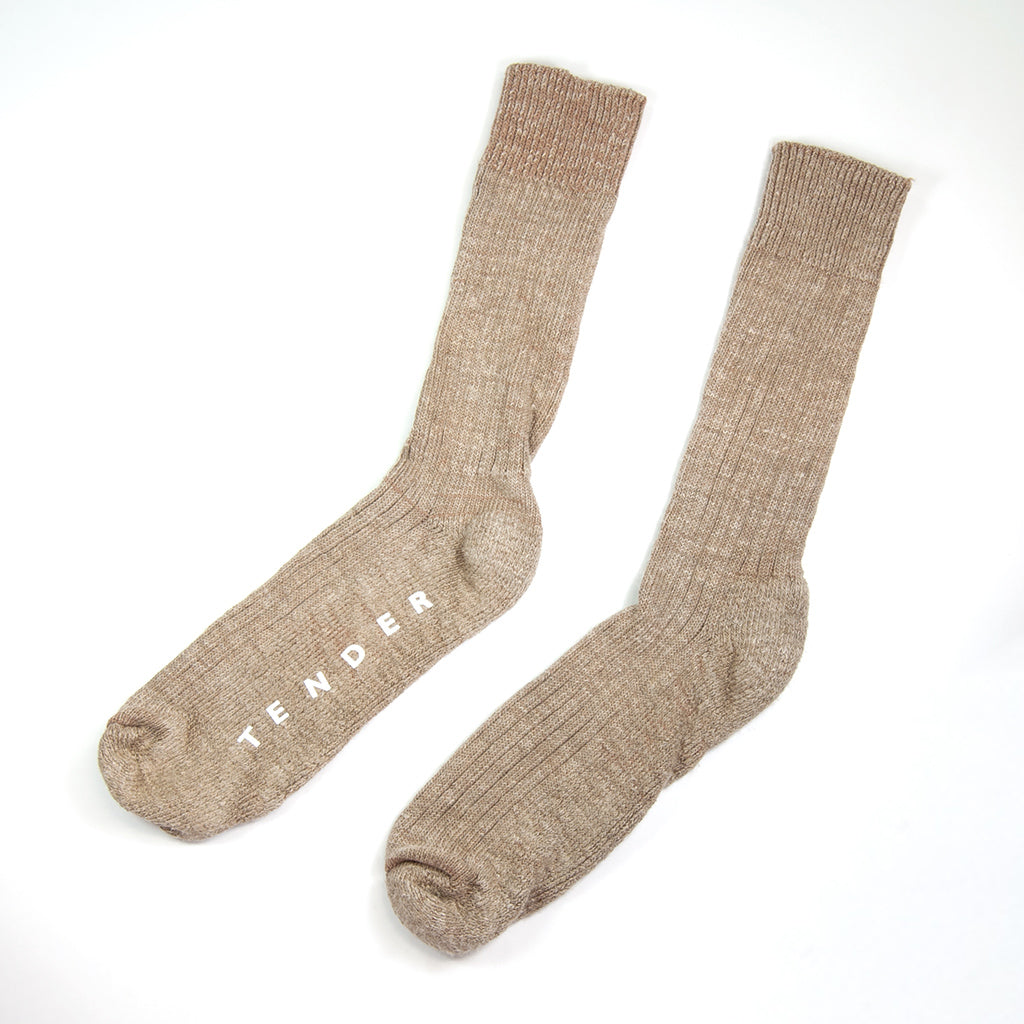 Tender Co. Type 007 Hand Linked Socks, Rinse Linen