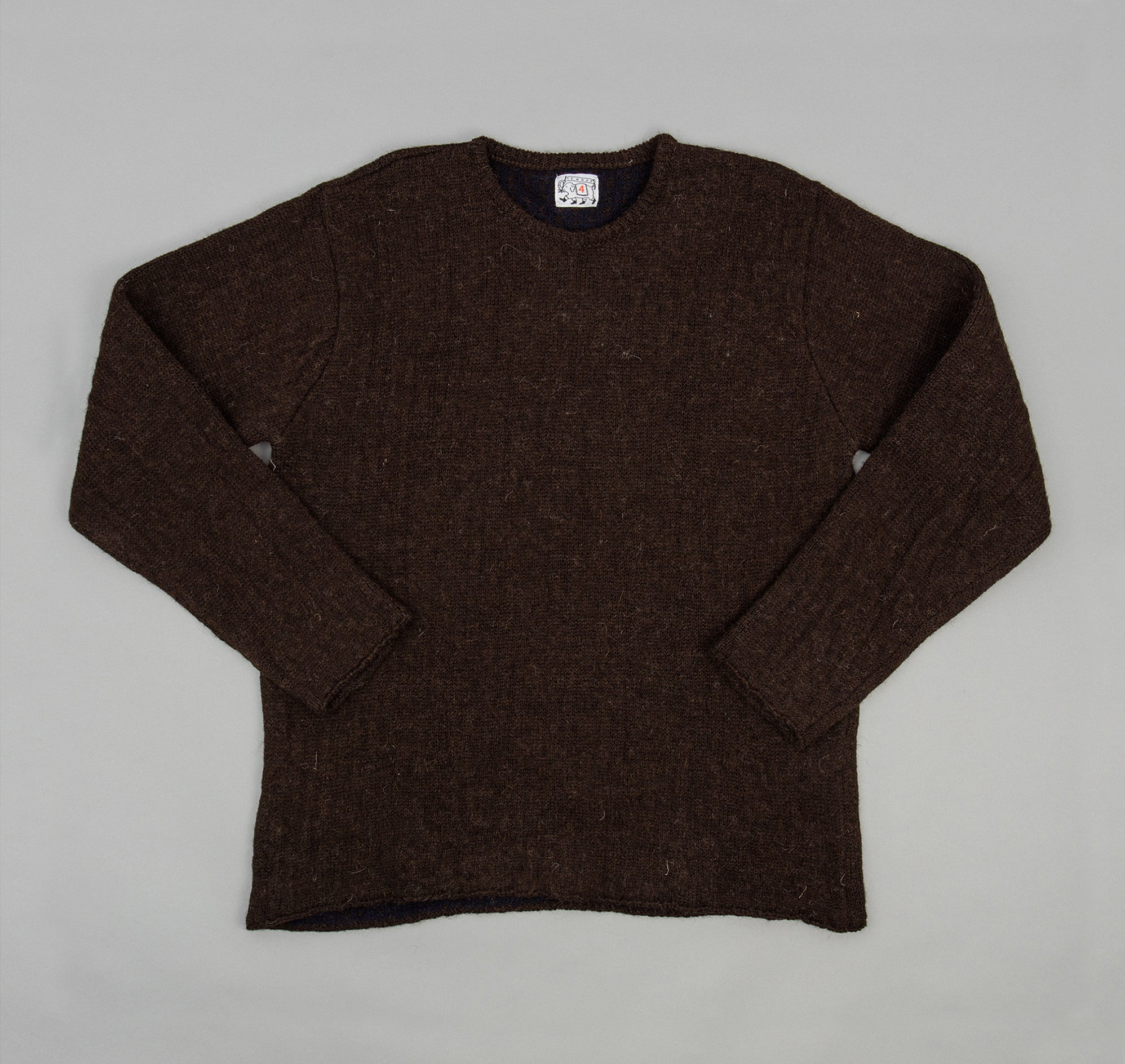 Type 750 Ladder Back Pullover Sweater, Natural Brown / Navy Lining