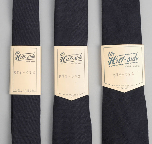 The Hill-Side 072 - Square-End Tie, Selvedge Panama Cloth, Indigo x Indigo