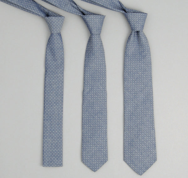 The Hill-Side 181 - Jacquard Dot Chambray Necktie, Indigo