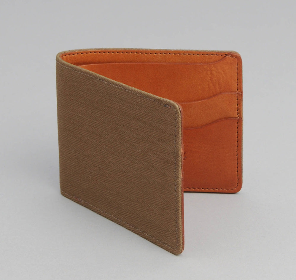 The Hill-Side 2/2 Herringbone Twill Wallet,  Dark Tan
