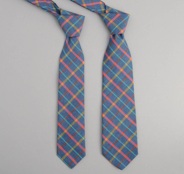 The Hill-Side 215 - Indigo Chambray Plaid Necktie, Pink / Yellow