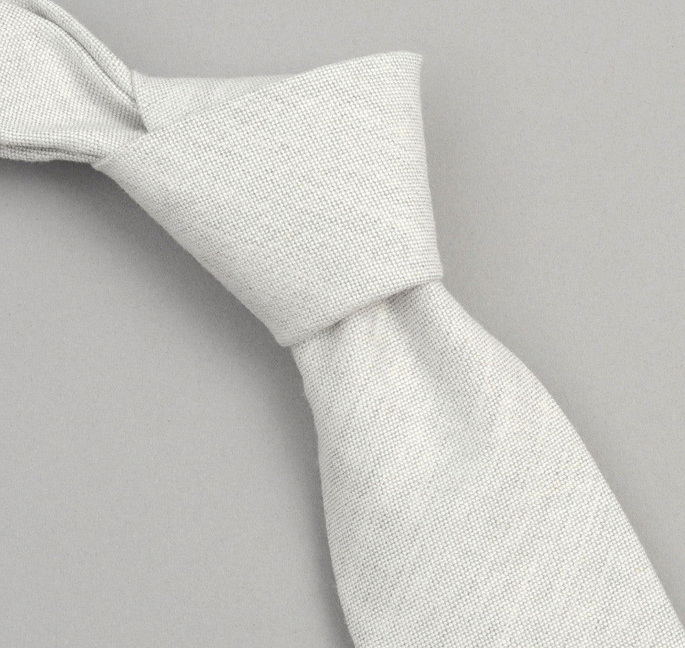 The Hill-Side 250 - Variegated Warp Oxford Necktie, Light Grey