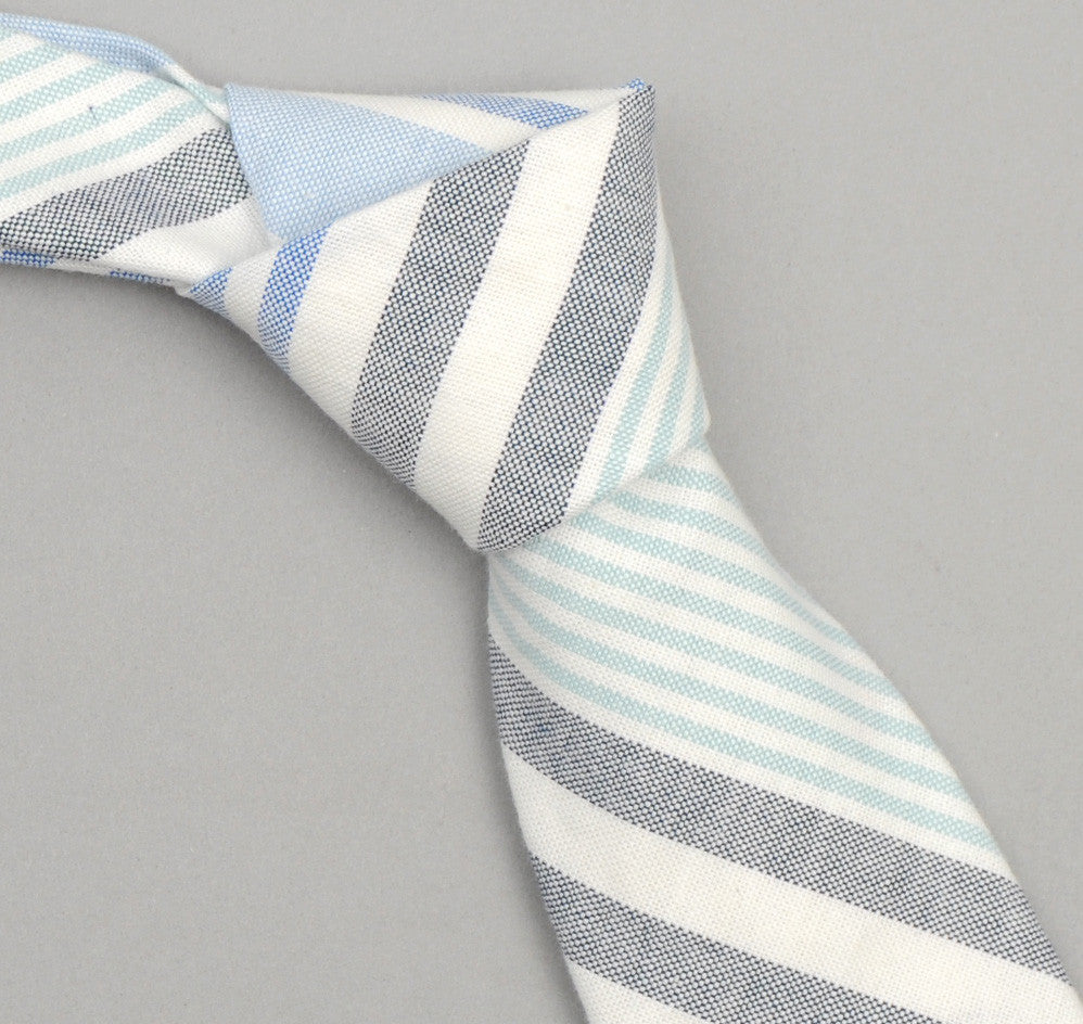 The Hill-Side - 252 - Multi Stripe Oxford Necktie, Turquoise/Blue/Navy - ST1-252 - image 1