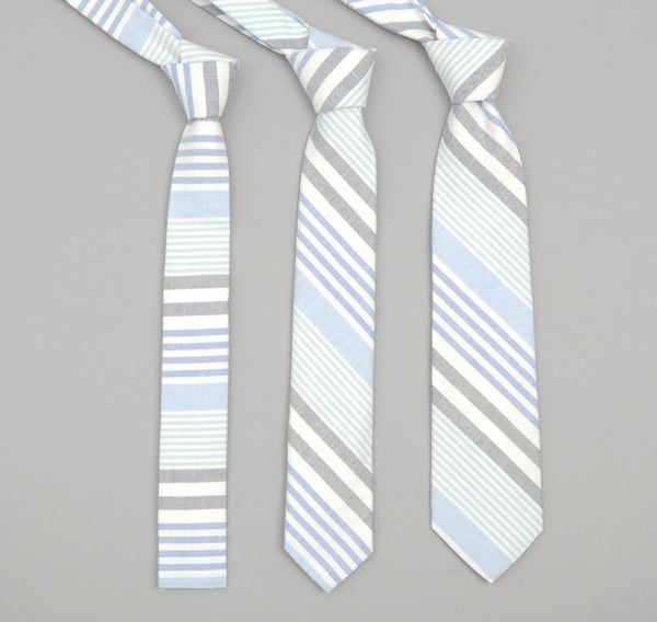 The Hill-Side - 252 - Multi Stripe Oxford Necktie, Turquoise/Blue/Navy - ST1-252 - image 2