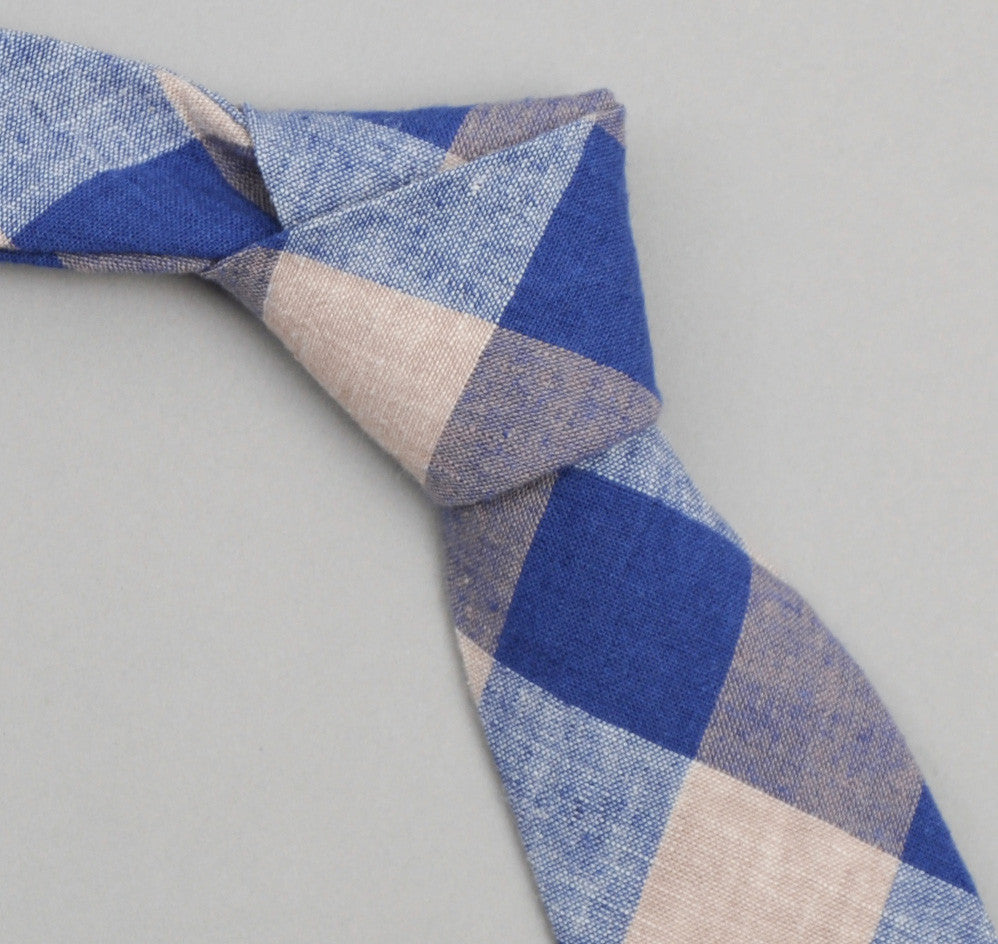 The Hill-Side 258 - Cotton / Linen Gingham Pointed Necktie, Blue / Tan