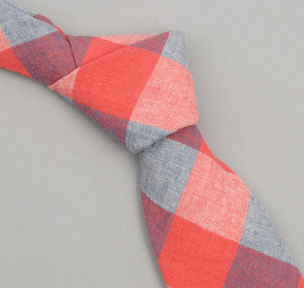 The Hill-Side - 259 - Cotton / Linen Gingham Pointed Necktie, Red / Blue - PT1-259 - image 1