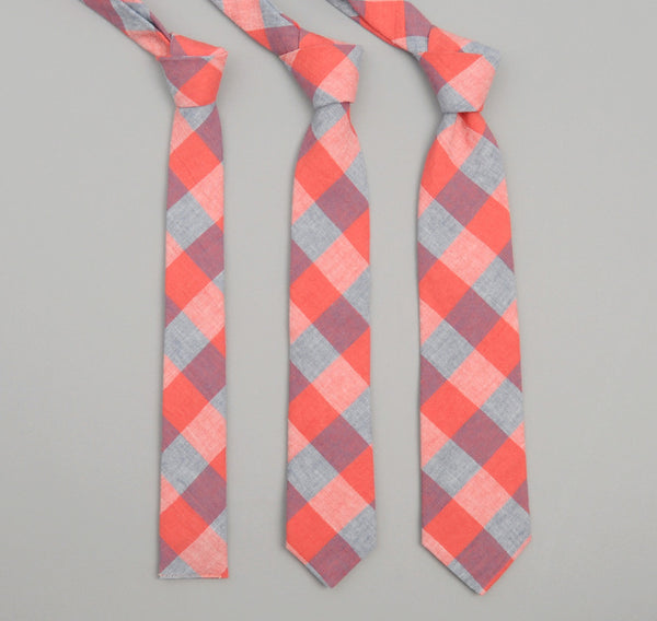 The Hill-Side - 259 - Cotton / Linen Gingham Pointed Necktie, Red / Blue - PT1-259 - image 2