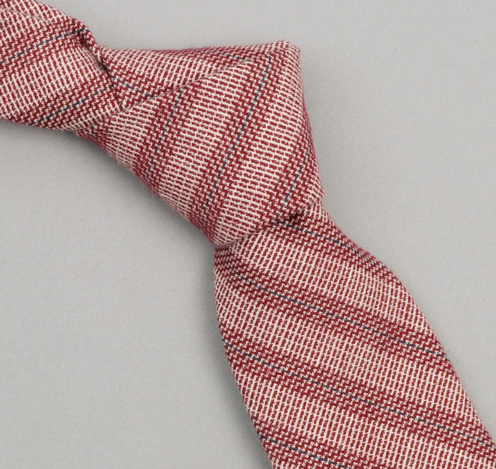 The Hill-Side 265 - Basketweave Twill Stripe Necktie, Burgundy