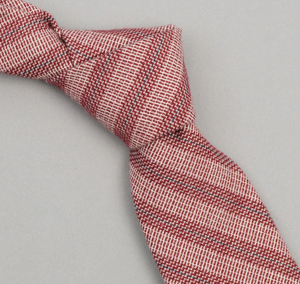 The Hill-Side - 265 - Basketweave Twill Stripe Necktie, Burgundy - ST1-265 - image 1