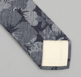 The Hill-Side - 269 - Cotton / Linen Jacquard Aloha Necktie, Indigo - ST1-269 - image 3