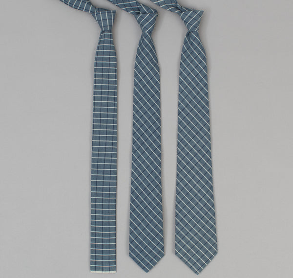 The Hill-Side - 293 - Selvedge Square Check Chambray Necktie, Indigo / White - ST1-293 - image 2