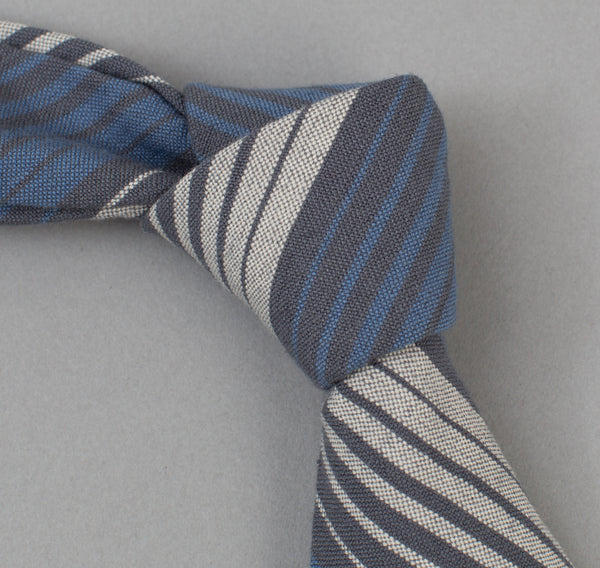 The Hill-Side - 294 - TH-S Mills Selvedge Waterfall Stripe Chambray Necktie, Light Indigo / Grey - ST1-294 - image 1